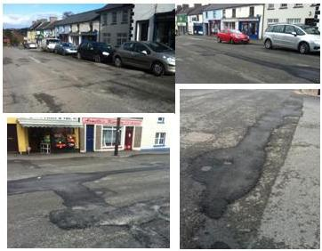 Temporary repairs at crossroads and Kilcullen Main Street